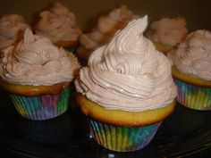 Blondie cupcakes with raspberry buttercream i made from the scratch