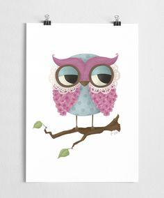 Pink owl Art print by Scandinavian A Grape Design - Nordic Design Collective