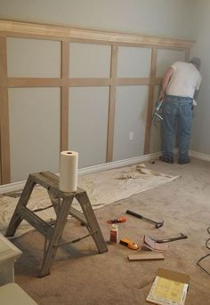 This board and batten wall just added the icing on the cake for me in our bedroom!        After our built ins in our bedroom where finished in our bedroom my vision for the bedroom was not