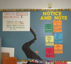 Notice and Note bulletin board I introduced during The Giver. Great reading…