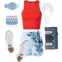 Bleu blanc rouge!!?? by julie-buathier on Polyvore featuring polyvore, mode, style, T By Alexander Wang, Ermanno Scervino, Converse, STELLA McCARTNEY and Forever New