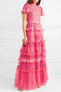 2daaabe588d Needle   Thread - Iris Ruffled Embroidered Tulle Gown - Bright pink