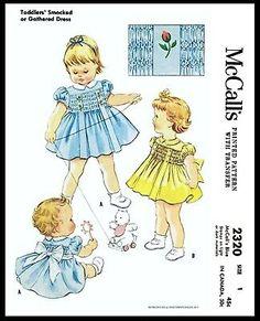 Smocking Patterns, Sewing Patterns For Kids, Mccalls Sewing Patterns, Vintage Sewing Patterns, Clothes Patterns, Baby Patterns, Sewing Ideas, Moda Peru, Girls Smocked Dresses