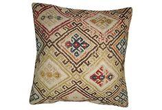 Pillow made with a vintage jajim. Khaki cotton back. Zipper closure.