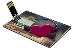 Luxlady 32GB USB Flash Drive 20 Memory Stick Credit Card Size Headphones with red heart love music vintage retro IMAGE 33251603 *** To view further for this item, visit the image link. (Note:Amazon affiliate link)