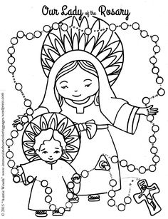 Our Lady of the Rosary Coloring page, Easy to Color, Catholic, Homeschool Resources.