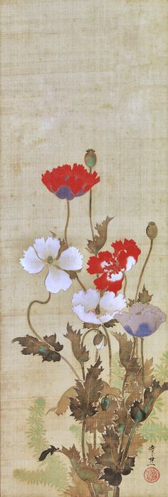 芥子図 Poppies. 鈴木其一 Suzuki Kiitsu (Japanese, 1796–1858). Edo period. mid-19th century. Japanese hanging scroll. Rinpa School. The Metropolitan Museum of Art.