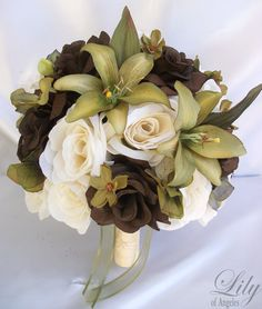 "17 Pieces Package Silk Flower Wedding Decoration Bridal Bouquet SAGE GREEN OLIVE ""Lily Of Angeles"" on Etsy, $199.99"