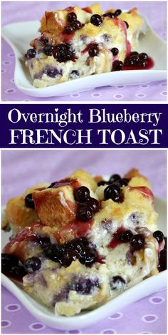Overnight Blueberry French Toast Recipe : so easy to make the night before and pop in the oven the next morning. A delicious breakfast casserole recipe with the surprise of blueberries and cream cheese and a lovely blueberry sauce topping. Overnight Breakfast Casserole, Breakfast Desayunos, Breakfast Dishes, Breakfast Ideas, Brunch Ideas, Night Before Breakfast, Gluten Free Breakfast Casserole, Toast Ideas, Mexican Breakfast
