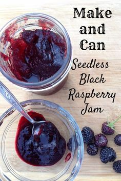 Blue Skies and Shoofly Pies: Smooth and Sweet Black Raspberry Jam (Updated with . - Blue Skies and Shoofly Pies - Homemade Jam Black Raspberry Jelly Recipe, Blackberry Jam Recipes, Raspberry Syrup, Low Sugar Blackberry Jelly Recipe, Rhubarb Recipes, Freezer Jam Recipes, Jelly Recipes, Canning Recipes, Gourmet