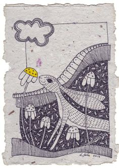Illustration on handmade paper by Emma Giles. SOLD @ the Willow Gallery Oswestry