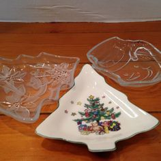 CHRISTMAS CANDY DISHES by CellarDeals on Etsy