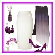 """""""Being classic in purple"""" by arara-sustentavel ❤ liked on Polyvore featuring Roland Mouret, Great Plains, Manolo Blahnik, Howard Elliott and Pier 1 Imports"""