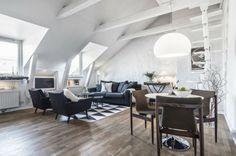 Wohnzimmer Dachschräge skandinavischer Stil einrichten