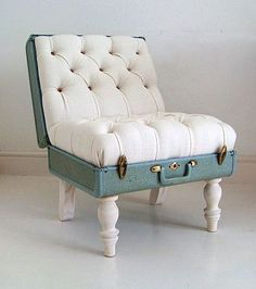 Suitcase Ottoman Sometimes in life, you just need to sit down to ponder what you can repurpose next. How many things in life would make awesome chairs if you just added some legs and secured them? Old suitcases can be combined with pillow stuffing or old couch cushions to make comfy, decorative chairs. Any solid object you can find shopping online may make a good ottoman, and you can pick up the legs at any craft store.