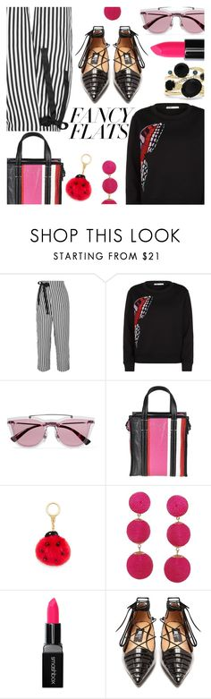 """""""Fancy Flats"""" by stacey-lynne ❤ liked on Polyvore featuring J.Crew, Maje, Valentino, Balenciaga, Humble Chic, Smashbox, Rue St. and Effy Jewelry"""