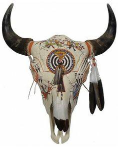 Painted Bison Skull