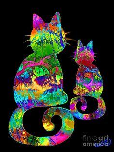 Splatter Cats3 Drawing  - Splatter Cats3 Fine Art Print