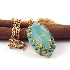 Crystal Pacific opal pendant turquoise necklace by @SigalitAlcalai, $38.00