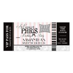 Evening in Paris Sweet 16 Party Invitations #sweet16 #sweetsixteen #paris #eiffeltower #themeparty #invitations