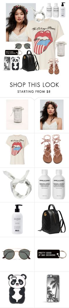 """""""The Rolling Stones"""" by kaileewhaley13 ❤ liked on Polyvore featuring Torrid, Rock 'N Rose, MadeWorn, Boohoo, Grown Alchemist, Balmain, Gucci, Ray-Ban and Various Projects"""