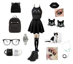 """The cat"" by xxroboepicoxx ❤ liked on Polyvore featuring Topshop, Silver Spoon Attire, Betsey Johnson, Lime Crime and Olivia Pratt"