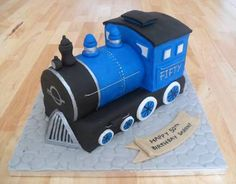 Last minute order, bit unsure about it but customer was very pleased Train Cake. Birthday Cakes For Men, Dinosaur Birthday Cakes, 2 Birthday Cake, Trains Birthday Party, Cakes For Boys, Train Party, Dad Cake, Cake Shapes, Train Cakes