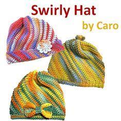 Swirly Hat - Free crochet pattern in English and Japanese by Caro Tsuchiya. Child - adult sizes, aran weight yarn.