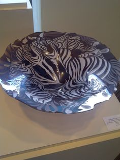Cold worked bowl with zebras at a gallery showing in Toledo for the GAS conference. I loved this piece even when I first saw it and thought it was just a black and white pattern, before I saw the zebras.