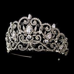 "Captivating  3 1/2"" Rhinestone and CZ Wedding and Quinceanera Tiara  -- Affordable Elegance Bridal -"