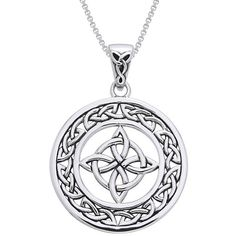 Carolina Glamour Collection Sterling Silver Celtic Good Luck Knot... ($38) ❤ liked on Polyvore featuring jewelry, necklaces, white, celtic necklace, knot necklace, sterling silver pendant necklace, long necklaces and celtic pendants