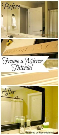 Frame a bathroom mirror using this simple DIY tutorial from Remodelaholic.com