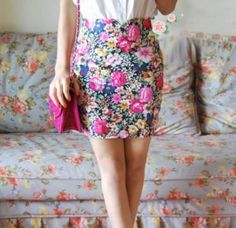 Charming Chic High Waist Back Hidden Zip Flower Skinny Skirt Black High Waist, Skinny, Zip, Flower, Beautiful, Black, Dresses, Fashion, Vestidos