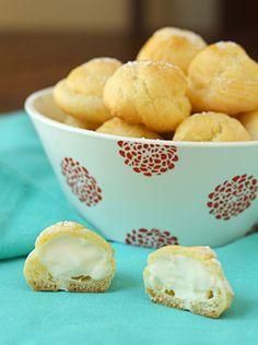 CREAM PUFFS FILLED WITH LEMON-MASCARPONE CREAM Puffs: 1 cup water  1/2 cup butter (4 ounces)  1 cup all-purpose flour  1/4 teaspoon salt  4 large eggs  Filling: 1 1/4 cups (10 oz) heavy whipping cream 3 T sugar 8 oz mascarpone 5 oz lemon curd