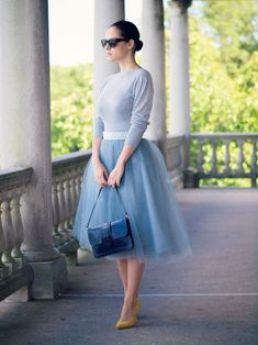 Blue tulle skirt. With a different top though.