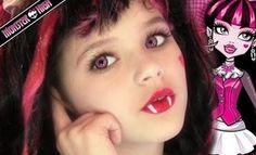 Draculaura Monster High Doll Costume Makeup Tutorial for Halloween (Jasmine Diy Costume) Halloween Makeup For Kids, Kids Makeup, Halloween Kostüm, Halloween Costumes, Doll Makeup, Makeup Ideas, Monster High Birthday, Monster High Party, Maquillaje Monster High