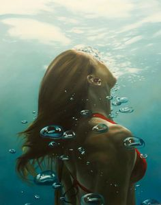 Most amazing artist.  The water looks so real and so does the girl.  All his drawings are this brilliant.