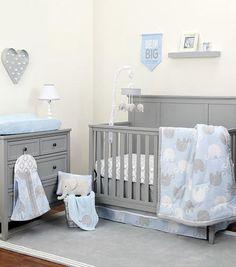 NoJo The Dreamer Collection Elephant Blue/Grey 8 Piece Crib Bedding Set
