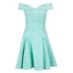 Closet Mint Jacquard Bardot Skater Dress