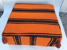 Moroccan Hand Woven Kilim Wool Square Ottoman Pouf Chair in Black & Orange  #Handmade #Mediterranean