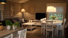 huvila ja huussi 2019 - Google-haku Scandinavian Cottage, Cottage Interiors, Log Homes, Great Rooms, Tiny House, Beach House, Sweet Home, Interior Decorating, Dining Table