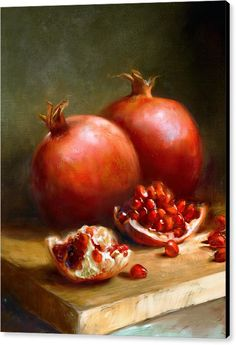 Choose your favorite fruit still life paintings from millions of available designs. All fruit still life paintings ship within 48 hours and include a money-back guarantee. L'art Du Fruit, New Fruit, Fruit Art, Fruit Trees, Pomegranate Art, Still Life Fruit, Fruit Painting, Painting Art, Painting Portraits