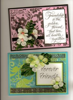 DCWV Cardstock on both cards, Verses were from a Current store years ago.  Silk flower's from Dollar Tree.