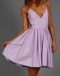 Lilac v-neck backless dress. Perfect for summer & spring!! I think I could make this
