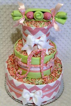 Peas in a Pod Girls Pink and Mint Green Baby by Diannasdiapercakes