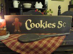 Primitive Wood Gingerbread Sign Cookies Five Cent. $12.00, via Etsy.