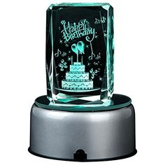 IFOLAINA Birthday Day Gift 3d Laser Crystal Subsurface Engraved Cake with Led Plastic Rotating Stand Fading Light Customized Names and Blessings Acceptable Multicolor -- This is an Amazon Affiliate link. Want to know more, click on the image.