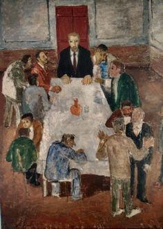 Alfredo Volpi. Reunião à mesa, 1943. Óleo sobre tela. MAC USP.