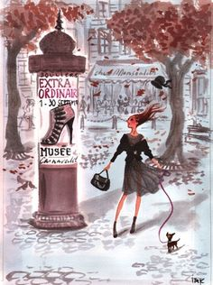 women in paris with their dogs and high heels - Illustration by Izak Zenou