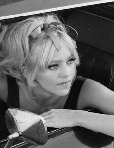 Goldie Hawn in her Camaro, 1969.